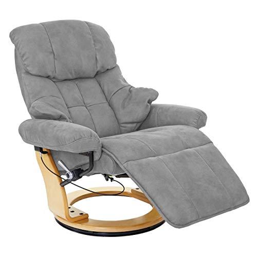 Mendler MCA Relaxsessel Calgary 2, Fernsehsessel Sessel, Stoff/Textil 150kg belastbar ~ hellgrau, naturbraun