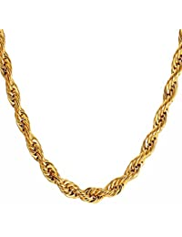 Nakabh Golden Stainless Steel Rope Chain Necklace For Men Boys