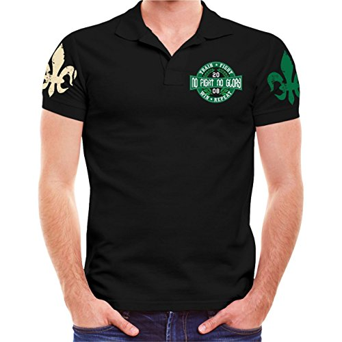 Männer und Herren POLO Shirt No Fight No Glory Warrior (mit Rückenduck) Größe S - 10XL (Warrior Training T-shirt)