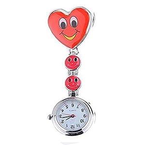 Neue Mädchen Süßes Lächeln Uhr mit Herz-Anhänger Krankenschwester Uhr Schwester Taschenuhr schönes Geschenk Rot
