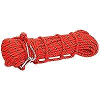 Corde d'escalade en Polyester Descente en Rappel Corde Auxiliaire de Sécurité Rouge 10M