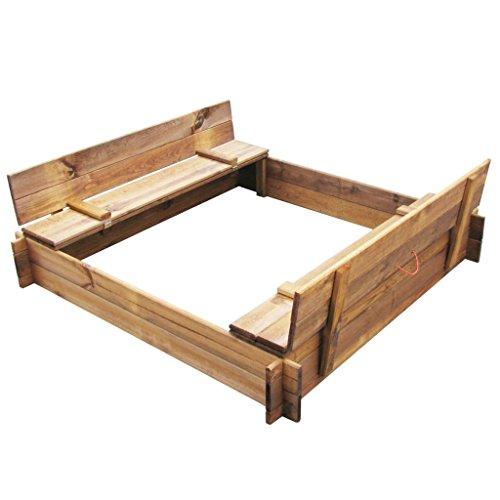 Festnight Sandkasten Quadratischer Holzsandkasten Sandboxen Imprägnierter Pinienholz Outdoor-Spielgerät 120 x 120 x 20 cm