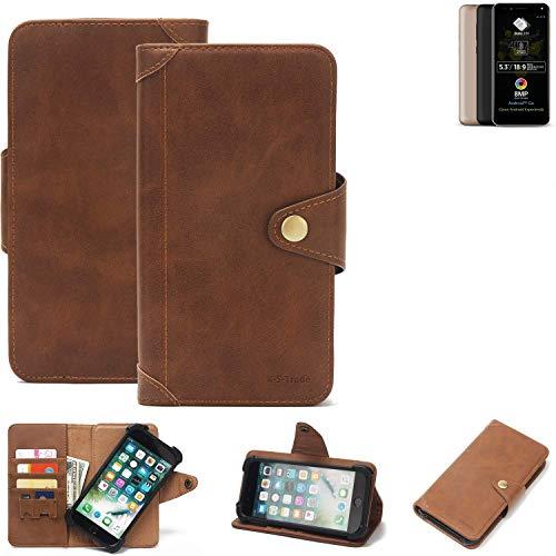 K-S-Trade Handy Hülle für Allview A9 Plus Schutzhülle Walletcase Bookstyle Tasche Handyhülle Schutz Case Handytasche Wallet Flipcase Cover PU Braun (1x)