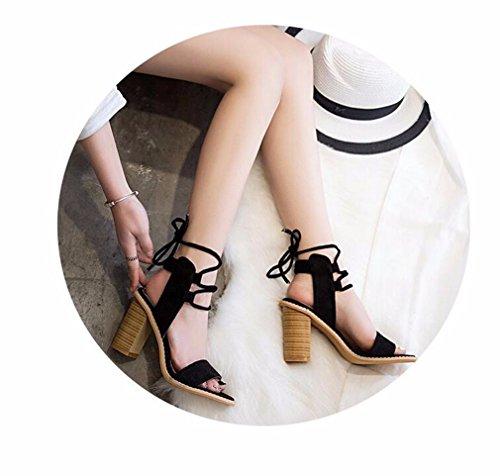 Minetom Damen Sommer Elegante Knöchelriemchen Sandalen Bequeme Hoch Absatz Lace Up Peep Toe Plattform Schuhe Sandals Schwarz