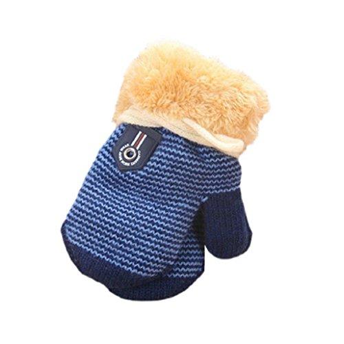 Guantes de bebé Auxma Para 1-4 años de edad Linda hoja bebés de los muchachos espesa la ropa guantes calientes (Azul oscuro)