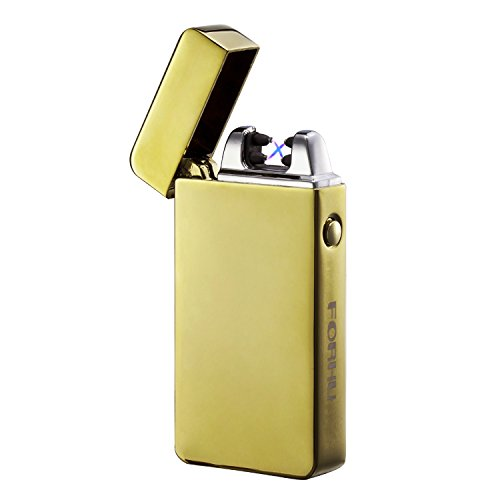 Forhu USB Briquet rechargeable coupe-vent sans flamme électronique Pulse Arc allume-cigare, doré