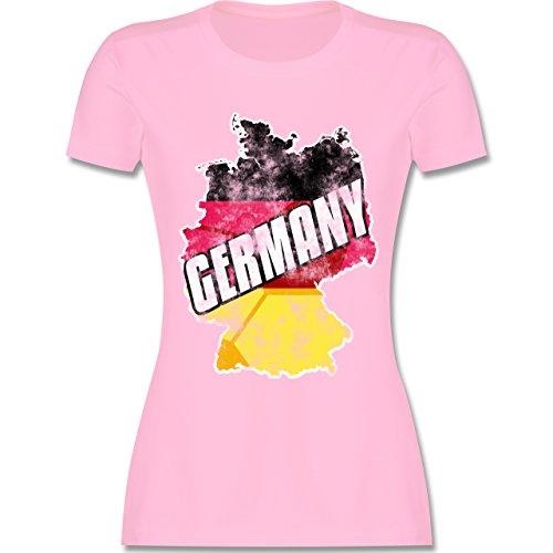 EM 2016 - Frankreich - Germany Umriss Vintage - tailliertes Premium T-Shirt mit Rundhalsausschnitt für Damen Rosa