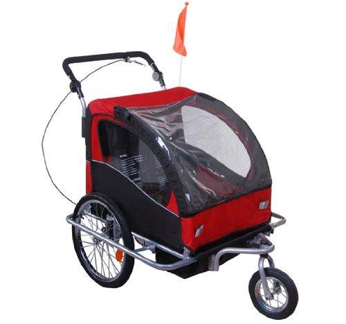360° Drehbar Kinderanhänger 2 in 1 Fahrradanhänger Jogger 5 Farben NEU (Rot-Schwarz)