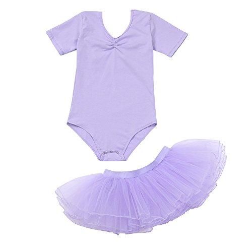 Lazzboy Tutu Rock 2 STÜCKE Kinder Kinder Mädchen Strampler + Ballett Kleidung Outfits(Höhe 120,Violett)