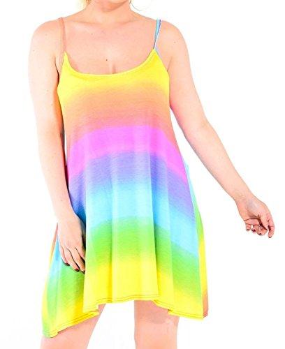 Islander Fashions Womens Rainbow Strappy Swing Cami Vestido Ladies Fancy Party Wear Top sin Mangas X Grande