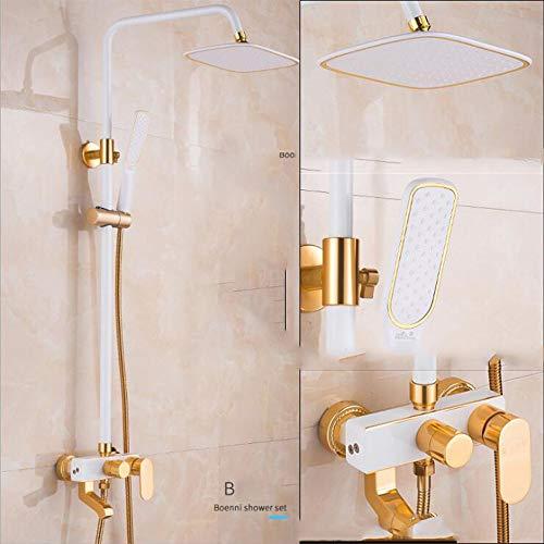 AA100 Luxuriöser Raum Aluminiummixer-Dusche setzen DREI-Gang-Booster-Dusche Wandfarbe (weißes Gold)