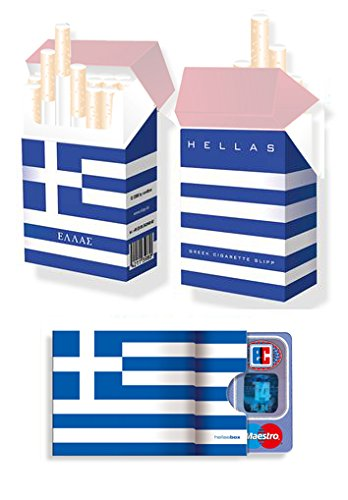 WM-SET Motiv: GRIECHENLAND FAHNE / FLAGGE - 1x cardbox (Kartenhülle, Ausweishülle, Führerscheinhülle) UND 1x indo slipp (Hülle für Zigarettenschachteln) im SET (2014-karten-sets Wm)