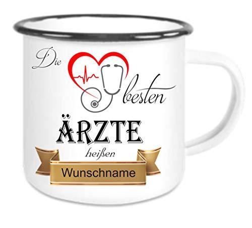 crealuxe  Emailletasse m. Wunschname Die Besten Ärzte heißen. Wunschname - Kaffeetasse mit Motiv,...