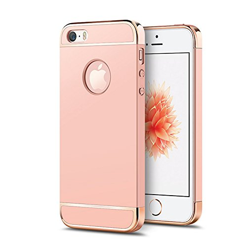 UKDANDANWEI iPhone SE / 5 / 5S Luxe 3 In 1 Hybrid Dur PC Etui Protecteur Bumper Housse avec Electroplate Plating Mirror Back Coquille Ultra Mince Protective Plastique Case Cover Anti-Scratch et Anti-S Rose Gold