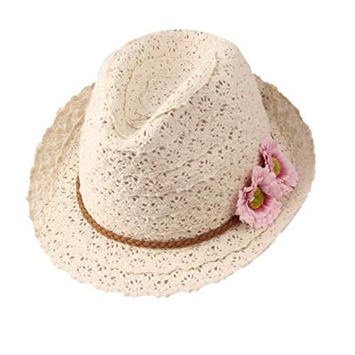 Drawihi Jazz Hat Sonne Mütze Sweet Summer Flowers Dekorative Spitze Hat Hohl Hat Dame Beach Hat für Damen 56-58 cm (Spitze Hüte Dekorative)