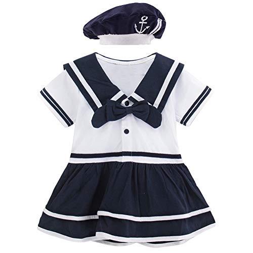 Mombebe Baby Mädchen Matrose Body Sommer Kurz Kleider mit Hut (Matrose 4, 18-24 ()