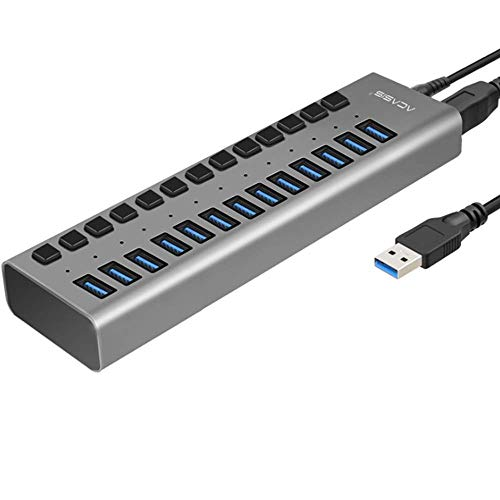 K99 USB-Hub, Multiport-USB-Hub 10-Port 13-Port 16-Port USB 3.0-Port Stromversorgung Multi-Interface-Erweiterung und unabhängiger EIN- / Ausschalter und Anzeige,13port6Apowersupply (Hdmi-switch, 10-port)