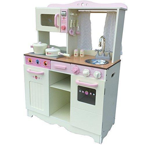 Vintage Cocina para niños Cocinita de la madera crema con Accesorios Cocina de juego de niños completo