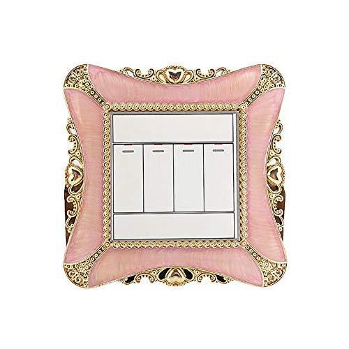 Hotel Akzent (Wandsticker & Wandbilder Home D ̈¦cor Home D ̈¦cor Akzente für Wohnzimmer Blumen & Kunststoff quadratisch Lichtschalter Button Cover Home Hotel Aufkleber Dekoration, rose, onesize)