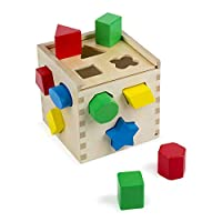Melissa & Doug Shape Sorting Cube - Classic Wooden Toy With 12 Shapes