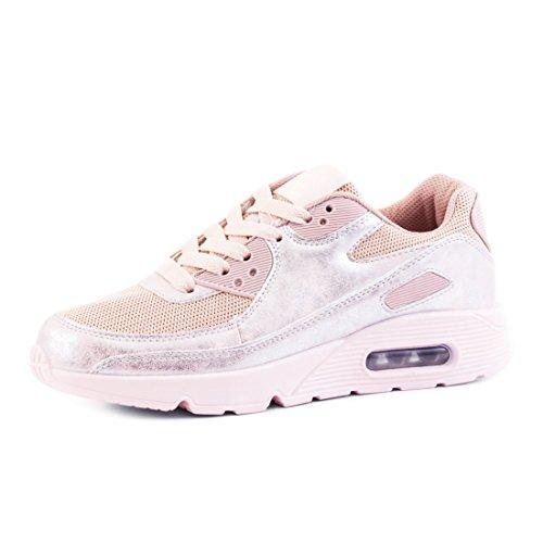 Trendige Unisex Damen Herren Laufschuhe Schnür Sneaker Sport Fitness Turnschuhe Metallic Pink 40