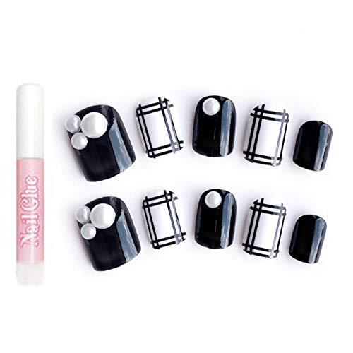 Superlove adesivi per unghie plaid bianco nero nail sticker tattoo elegante raffinato raffinato colore 24 pezzi adesivi manicure