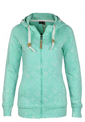 Eight2Nine Damen Sweatjacke mit Ethnomuster | Sportlicher Hoodie in Melange-Optik mit Zipper Light-Turquoise M