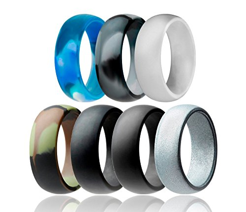 Rinspyre 7 Pack Silikon Trauringe für Männer, 8 mm Breit, Fitness, Übung, Training, Laufband Größe 65 (20.7) -