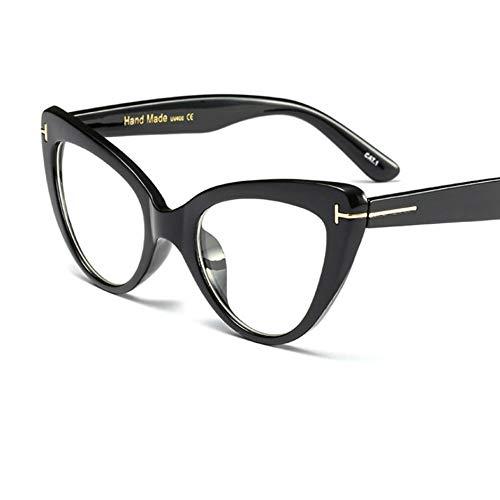 Rjjdd Cat Eye Brillengestell Damenmode Marke Brillengestelle für Damen 2019 Sexy Oversized Metal Frame Lady Eyewear schwarz (Cat Eye Kontakt)