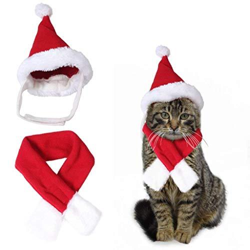 KAYLEY Pet Weihnachtsmütze & Schal Xmas Red Kostümanzug Dress Up für Pet Dog Cats Xmas ()