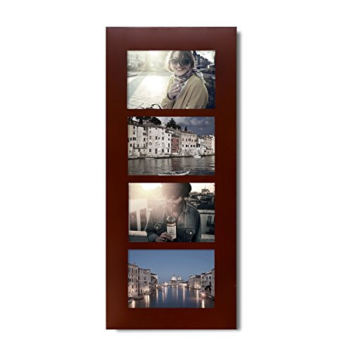 Adeco 4-opening Dekorative Wand zum aufhängen Holz Fotorahmen, 4geteilt von 15,2cm Walnuss