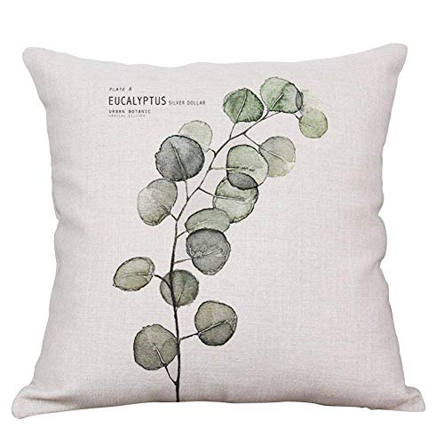 Hectwya Pillow Covers Green Fern Leaf Throw Pillow Case Cushion Cover Decorative Cotton Linen Pillowcase Sofa Home Decor 18x18 Inch 4 - Denim, Pillow Sham