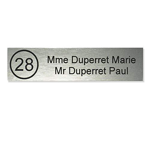 Plaque boite aux lettres NUMERO Decayeux (100x25mm) gris argent lettres noires - 2 lignes