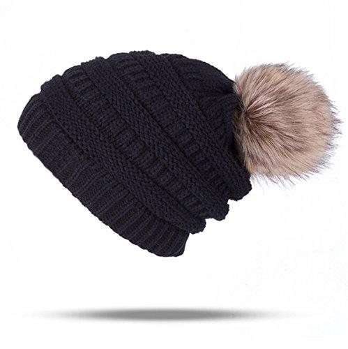 UPhitnis Bommelmütze Mütze Damen | Warme Strickmütze mit Fleecefutter Rollrand | Elegantem Wintermütze mit Fellbommel Pom Pom Beanie, B-Schwarz, Einheitsgröße