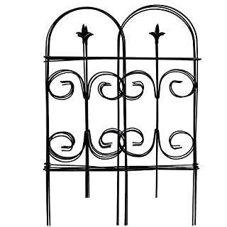Amagabeli Decorative Garden Fence 32in x 12ft Fencing Rustproof Black Iron with Fleur De Lis Decoration Folding Wire Patio Fencing Border Edge Sections Edging Flower Bed Barrier Decor Patio Fences
