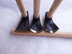 Lot de 3 herminettes à bois Droite/faiblement incurvée/fortement incurvée