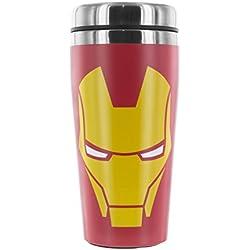 Marvel Taza de Viaje, Acero Inoxidable, Rojo y Amarillo, 19x7x7 cm
