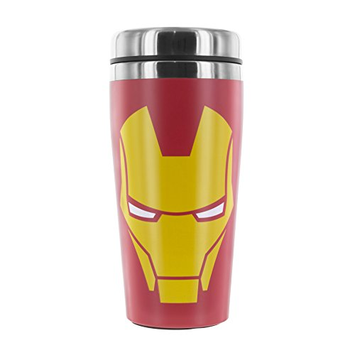 Paladone Iron Man to Go Becher Reisebecher, Edelstahl, Mehrfarbig, 8.9x8.9x19.6 cm