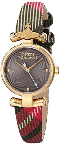 Vivienne Westwood Maida Women's Quartz Watch with Grey Dial Analogue Display and Multicolour Leather Strap VV090CHBR