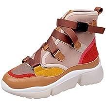 Chaussures Plates CompenséEs pour Femmes Printemps Automne Patchwork Boucle Sangle High Low Top Ladies Sneakers