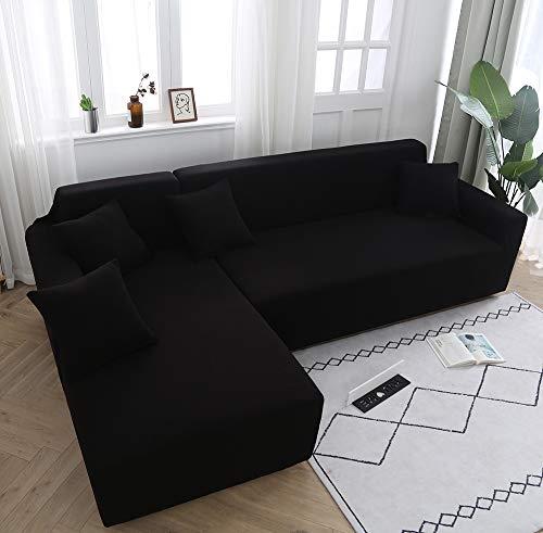 Rmckj copridivano angolare con penisola elasticizzato a forma di l haise longue sofa cover fodere copridivani posti angolare elastico protettore(È necessario ordinare 2 pezzi),black-single90-140cm