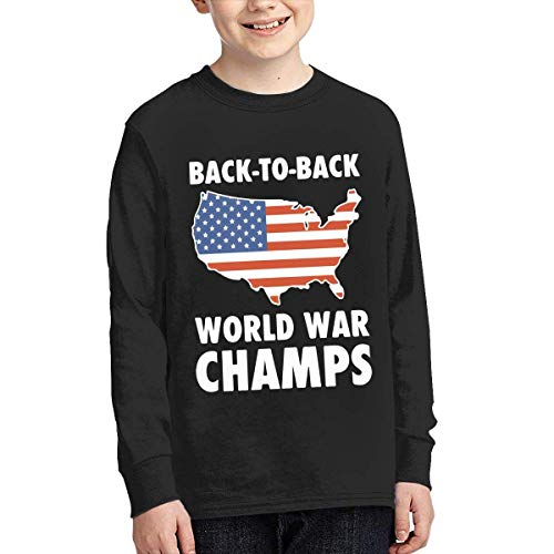 Champ Fitted T-shirt (Laura Longman Boys Plain Long Sleeve Crew Neck Cotton Back to Back World War Champs Tee Top)