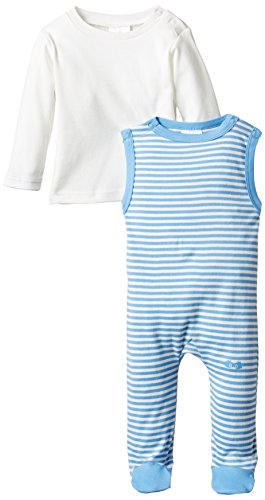 Twins Baby - Jungen Strampler, gestreift, im Set mit Langarmshirt, Gr. 56, Blau (16-4132 - little boy blue)