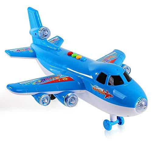 Bseion Inertial Flugzeuge Früherziehung Fahrzeugtechnik Fahrzeug Musik Licht Lernspielzeug für Jungen Kinder Blaue Farbe Automaschinen Kinder Spielzeug Mini Diecasts Modell Inertial Fahrzeug
