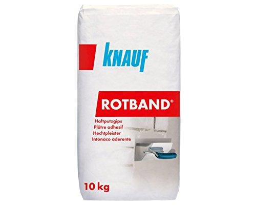 Knauf 4006379020195 Rotband-Haftputzgips, hochwertig, besonders für Betonwände und-decken geeignet, als Untergrund für Tapeten, Fliesen oder Dekorputze, sehr hohe Haftfestigkeit, Hellgrau, 10 kg