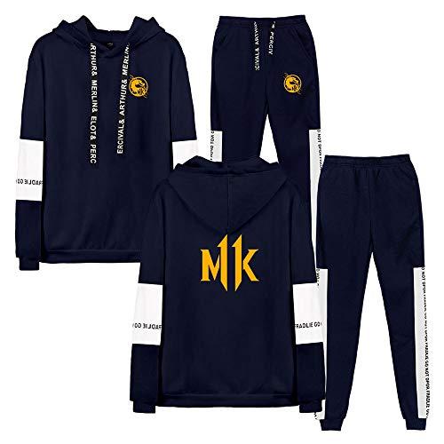CPHGG Unisex Kapuzenpullover Bedrucktes Sweatshirt Trend Mortal Kombat 11 Kapuzenpullover Mit Langen Ärmeln + Hose Herbst Sport Männer Und Frauen Beiläufig Nähender Sweatshirt-Anzug