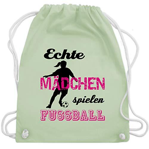 Fußball - Echte Mädchen spielen Fußball - Schwarz - Unisize - Pastell Grün - WM110 - Turnbeutel & Gym Bag -