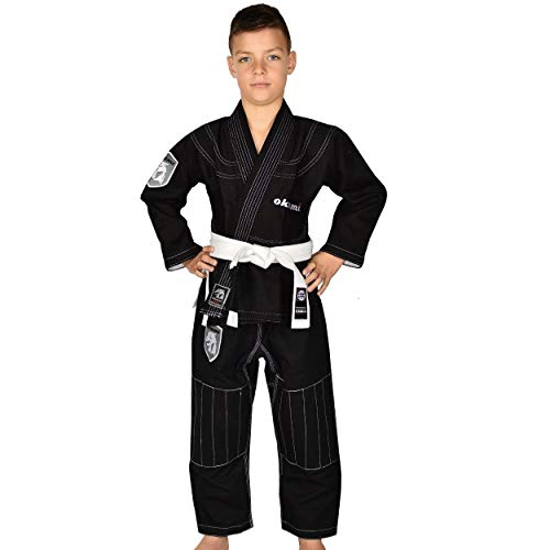 OKAMI Fightgear Kinder BJJ Gi Shield Schwarz - Kinder Kids Jungen Mädchen BJJ Gi Kimono Jiu Jitsu Anzug für Kinder und Jugendliche (M0) (Kinder Jiu-jitsu Gi-mädchen)