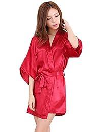 Ropa de dormir Kimono Sexy Ropa de dormir Vestido de encaje de satén de seda Baño