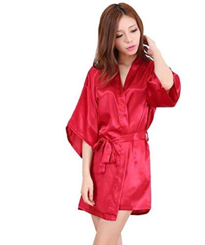 Nachtwäsche Kimono Sexy Nachtwäsche Silk Satin Spitze Morgenmantel Rot